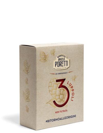 Scatola Poretti 3 luppoli (contiene 1 bottiglia da 33 cl e un bicchiere )