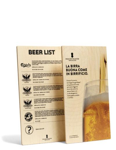 Beer list bifacciale stampato su legno